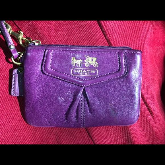 Coach Handbags - Coach purple mini wristlet pouch wallet